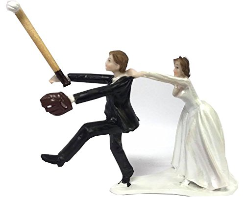 Baseball Wedding Cake Topper Groom with Bride Funny Decoration Gift (Wedding Cake Topper Arch)