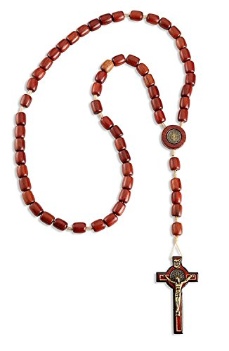 Catholica Shop Catholic Religious Wear Saint Benedict Crucifix Cross Necklace with Wood Beads Rosary - 20 Inch (Cherry Red) ()