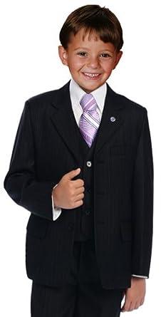 Amazon.com: Johnnie Lene Pinstripe Black Suit Set for Boys From ...