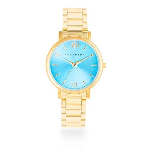 Reloj Luxenter Mujer SG2006WM0300 Nigeria Dorado y Celeste: Amazon.es: Relojes