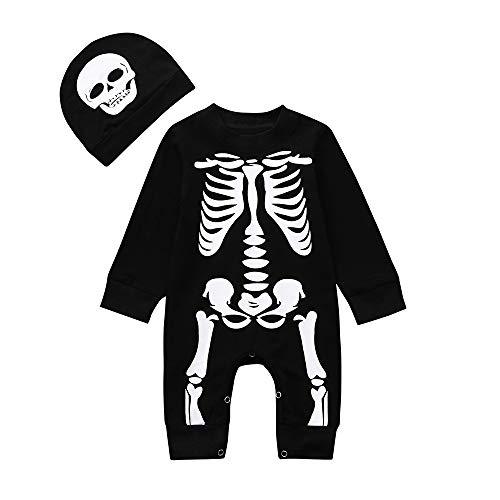 iYBUIA Unisex Newborn Baby Boys Girls Halloween Bone Print Romper Jumpsuit+Set Outfits Clothes(Black,70)