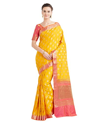 Viva N Diva Sarees for Women's Banarasi Latest Design Yellow Colour Banarasi Art Silk Saree with Un-Stiched Blouse Piece,Free Size