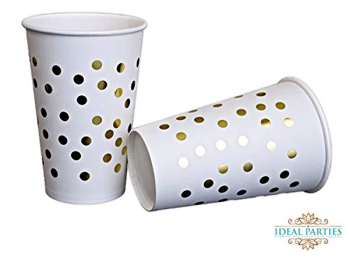 Ideal Parties 50 Count Gold Dot Disposable Cups 12 oz Paper Drinking Cups for Party Wedding Elegant Fancy Decorations Holiday Anniversary Birthday Supplies Bachelorette Baby Shower