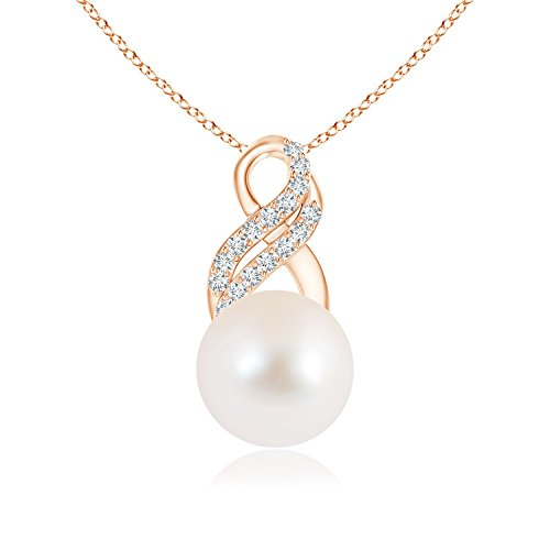 June Birthstone - FreshWater Cultured Pearl Drop Pendant Necklace for Women with Diamond Infinity Swirl in 14K Rose Gold (Pearl Size - 9mm)