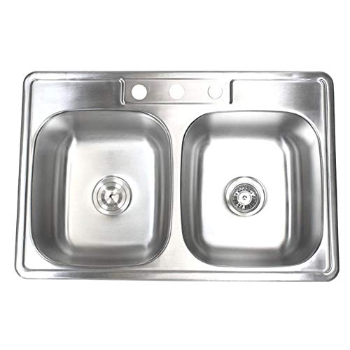 - 33 inch Topmount Drop-In Stainless Steel 18 Gauge Double Bowl 50/50 Kitchen Sink- with 3 Faucet Holes