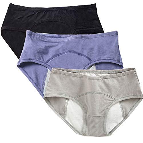 Teens Cotton Menstrual Period Panties Girls Heavy Flow Leak Proof Hipster Underwear Women Postpartum Briefs 3 Pack (Black+Blue+Gray 3 Pack, XXS/XS(80-115lbs)