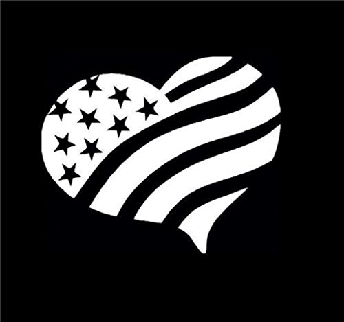 American Love Heart Decal Vinyl Sticker Cars Trucks Walls Laptop White 5 X 5 In Kcd416