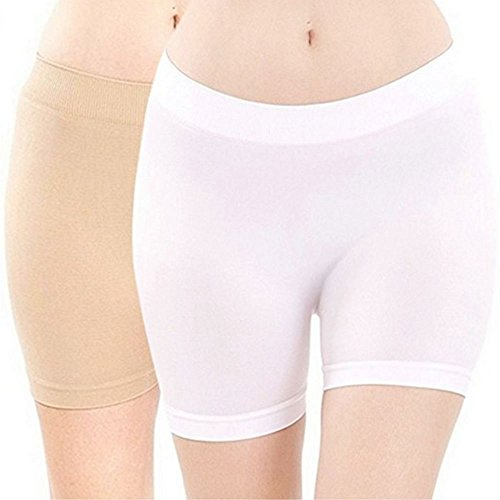 MOPAS Basic Solid Biker Short Spandex Yoga Leggings (12 Inch, Beige & White) (Spandex Shorts White)