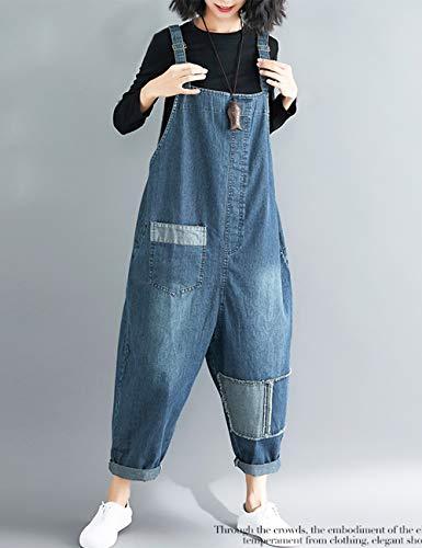 1facc8bb5098 Innifer Women's Loose Baggy Cropped Harem Pants Denim Bib Overalls Jumpsuit  Rompers