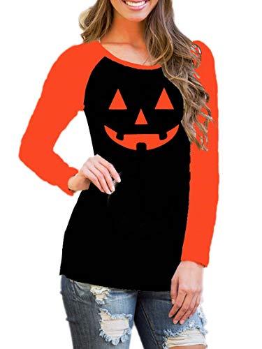 DREAGAL Halloween Scary Pumpkin Face Jack O'Lantern Women's Shirt Tops S