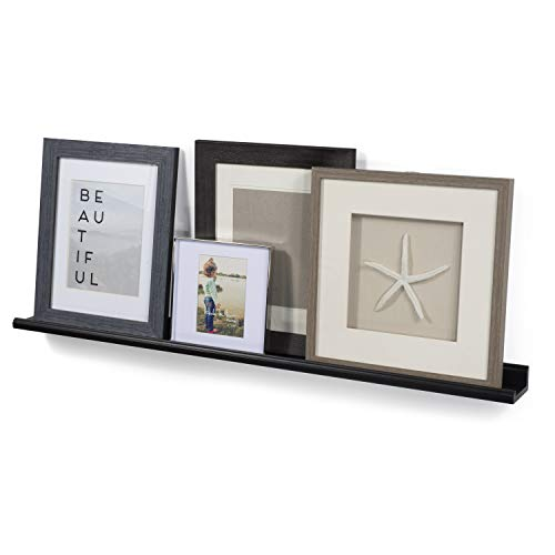 Wallniture Boston Contemporary Floating Wall Shelf Ledge for Picture Frames Book Display Black 46 Inch ()