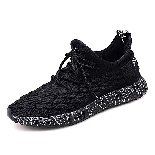 Releson Men's Casual Non-Slip Shoes Will Shine at Night Running Shoes Indoor and Outdoor Fitness Black Breathable Sneakers (9 B (M) US, Black)