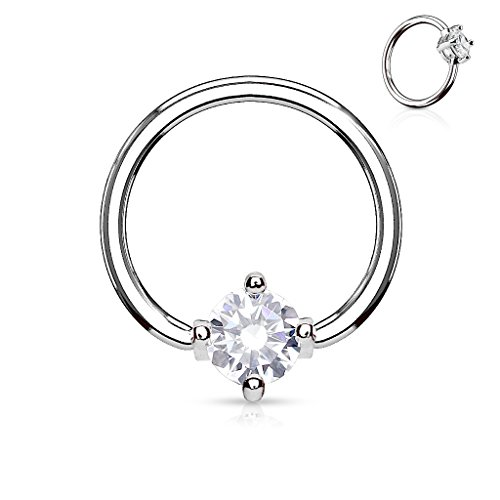 Inspiration Dezigns Prong Round CZ Surgical Steel Captive Bead Ring (Sold Individually) (16G, Length: 3/8
