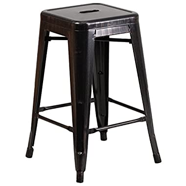 Flash Furniture Backless Metal Indoor/Outdoor Stool with Square Seat, 24 , Black/Antique Gold