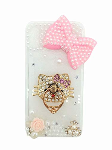 DVR 4000 Samsung Galaxy S8 Plus Bow Case,Samsung Galaxy S8 Plus Rhinestone Case,3D Handmade Flower Bling Glitter Diamond Shining Gemstone Pearl Phone Case with Lanyard