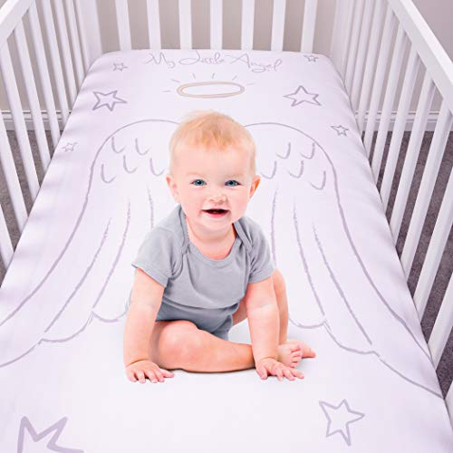 My Tiny Moments Flannel Photo Op Fitted Crib Sheet, Angel ()