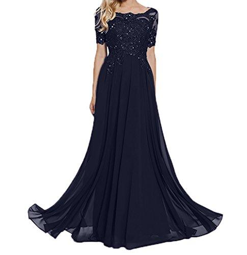 Brautmutterkleider Lang Damen Navy Abschlussballkleider Charmant Blau fesltichkleider Spitze Dunkel Kurzarm Abendkleider qp00wCtx