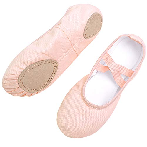 Koolen Ballet Shoes, Canvas Upper & Leather Sole Ballet Slippers, Ballet Dance Shoes for Girls, Ballet Pink-canvas-better Fit, 6 Big Kid (Footwear Leather Pink Youth)