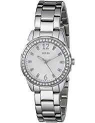 GUESS Womens U0445L1 Sporty Silver-Tone Watch with White Dial , Crystal-Accented Bezel and Stainless Steel Pilot...