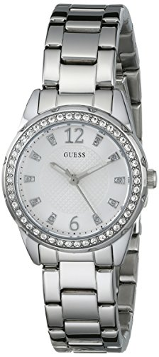 GUESS Women's U0445L1 Sporty Silver-Tone Watch with White Dial , Crystal-Accented Bezel and Stainless Steel Pilot Buckle (Dial White Polished)