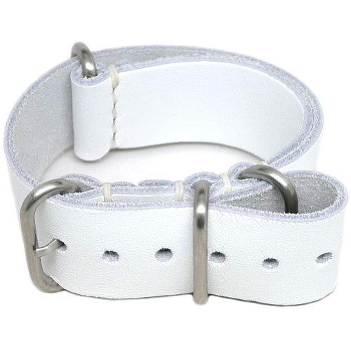 DaLuca NATO Watch Strap - White (Matte Buckle) : 22mm