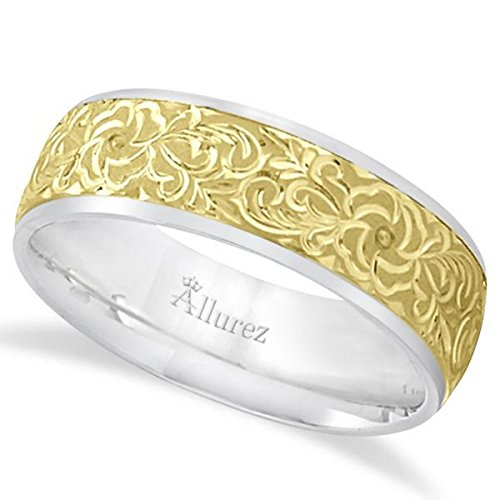 - Two Tone Men's Carved Floral Ring Wedding Band For Men in 14k Gold (7mm)