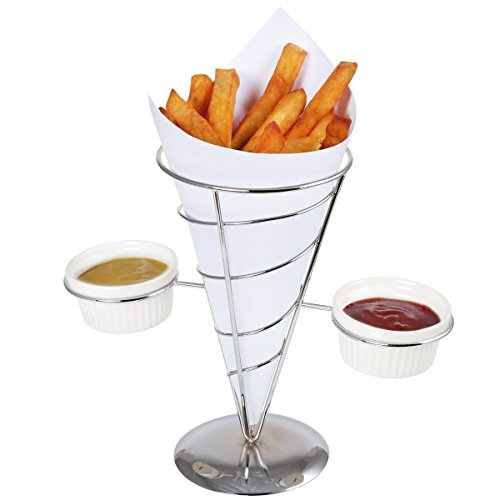 "Creative Home 73229 Works French Fry Set Single Cone Holder with 2 Ceramic Ramekins, 9"" x 5"" x 8.5"" H, Chrome Finished"