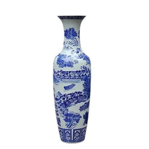 Amazon Waist Drum Type Floor Vase Of Underglaze Blue And White