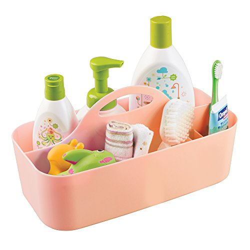 mDesign Plastic Portable Nursery Storage Caddy Tote - Divided Basket Bin with Handle for Organizing Bottles, Spoons, Bibs, Pacifiers, Diapers, Wipes, Baby Lotion - BPA Free - Large, Coral Orange from mDesign