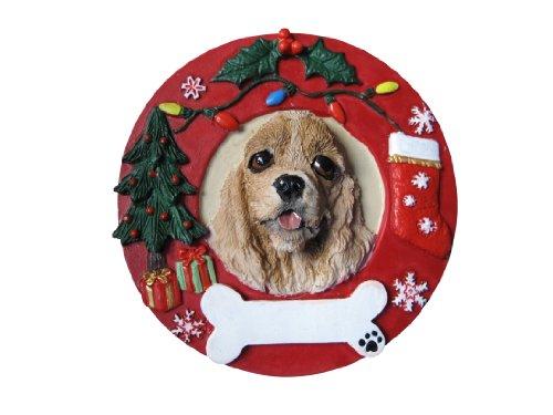 E&S Pets Cocker Spaniel Buff Personalized Christmas Ornament