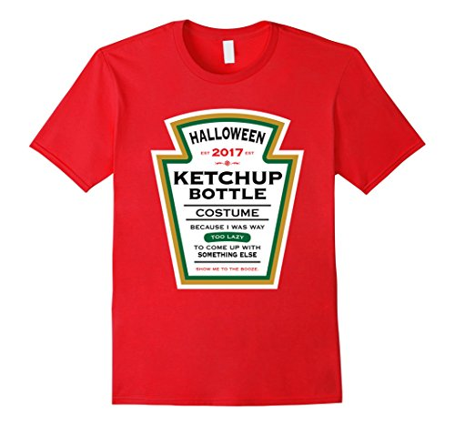 Ketchup Bottle Costume (Mens Halloween Red Ketchup Label Bottle Costume t-shirt 2XL Red)