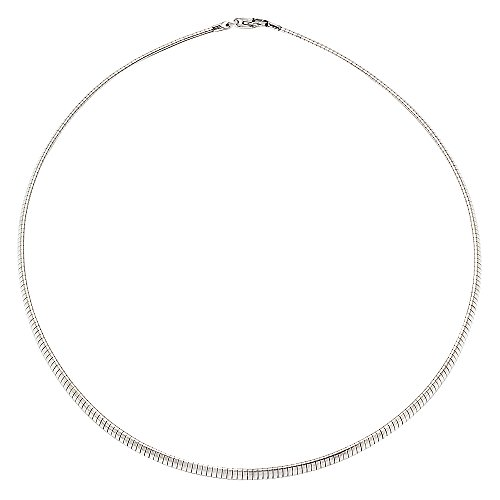 The Bling Factory 4mm Durable Solid Stainless Steel Smooth Solid Omega Chain Necklace, 16 inches + Jewelry Polishing Cloth ()