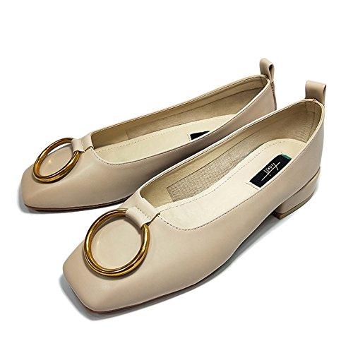 Talons Peu Femme Profonde Tête Bouche Chaussures 35 La Carrière Beige Carrée Travail Lents Mode Simples À De AqvSUwY
