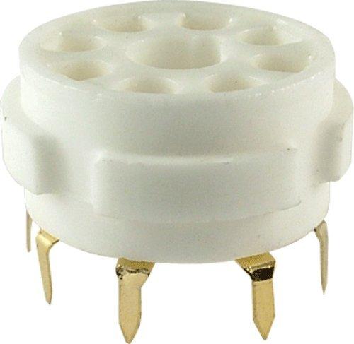Vacuum Tube Socket, 8 Pin / Octal, Ceramic, Gold Pins, PC (Octal Socket)