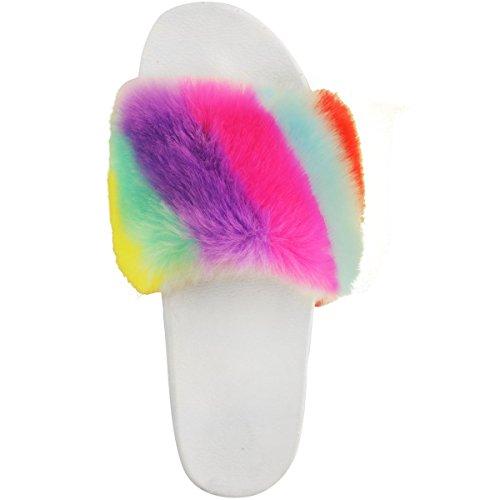 Moda Sed Mujeres Plana Cómoda Faux Fur Trim Deslizadores De Goma Flip Flops Mulas Tamaño Del Arco Iris De Piel Sintética