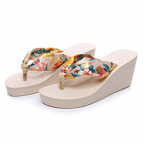 LaRosa Womens Ladies Girls Bohemian Style Satin Silk Comfortable Thongs Casual Sandals Mid Heel Platform Shoes Summer Beach Flip Flops Slippers