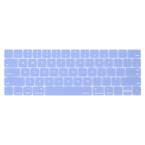 MOSISO Keyboard Cover Compatible with MacBook Pro with Touch Bar 13 and 15 Inch 2019 2018 2017 2016 (Model: A2159, A1989, A1990, A1706, A1707), Silicone Skin Protector, Serenity Blue