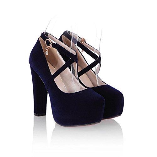 Balamasa Girls Studded Rhinestones Hebillas De Metal Vendaje Tacones Chunky Frosted Pumps-Zapatos Azul