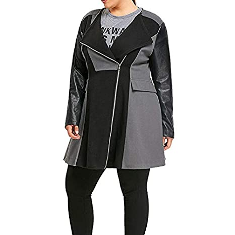 Linlink Invierno Mujeres cálidas de Lana de Cuero Patchwork Largo Abrigo Chaqueta Abrigo Outwear: Amazon.es: Ropa y accesorios