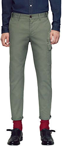 Gucci Men Pants (Gucci Men's Olive Green Washed Stretch Cotton Web Stripe Casual Pants, Green, 32)