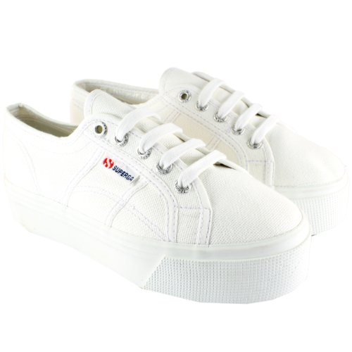 Superga Womens 2790 Canvas Chunky Sole Plimsoll Trainers - White - 5.5 (Best Socks For Superga)