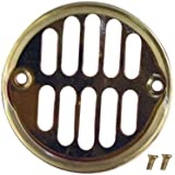 LASCO 03-1273 3-1/2-Inch Trim Ring Shower Drain Cover with Strainer, Polished Brass Finish by LASCO