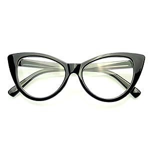 Super Cat Eye Glasses Vintage Fashion Mod Clear Lens Eyewear (Black, 0)