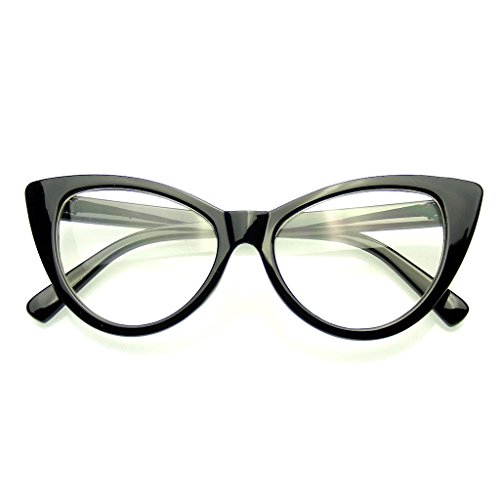 Super Cat Eye Glasses Vintage Fashion Mod Clear Lens Eyewear (Black 0)