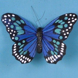 Artificial feather butterflies 10cm blue tray of 6 for Synthetic feathers for crafts