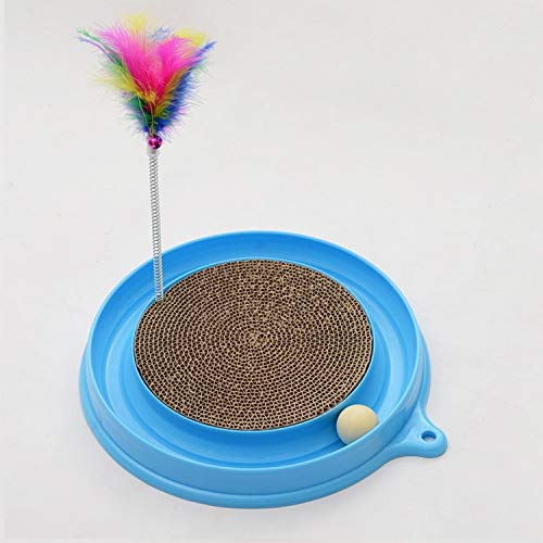 WAN Xiang KA Pet Supplies Cat Favorite Amusement Plate Funny Ball Feather Toys Cat Spring Corrugated Paper Scratching Posts Pet Toy, Random Color Delivery, Diameter: 40cm Used for Pet