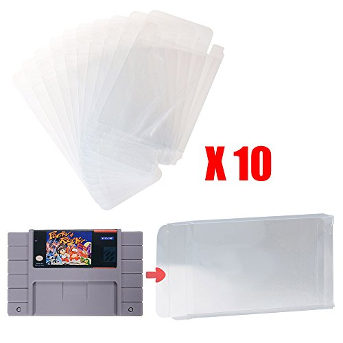 Price comparison product image Mcbazel LOT 10 Clear Case Sleeve Protector for Super Nintendo SNES Games Cartridge (Set of 10)