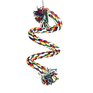 Spiral Parrot Cotton Rope with Bells, Bird Exercise Bungee Climbing Ropes Toy, Length 59inch(1.5M) Rainbow