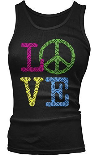 Amdesco Love Peace Sign Juniors Tank Top, Black Large