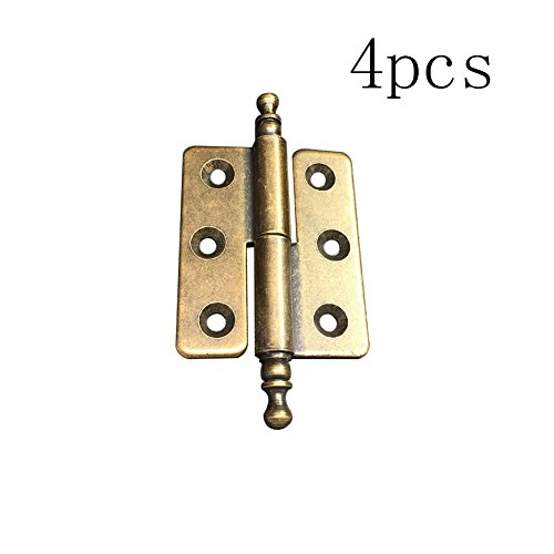 Welldoit 4 Pcs Heavy Duty Removable Pin Butt Hinges Cabinet Hinge Lift Off Hinge (Gold) (Butt Hinge Pin)
